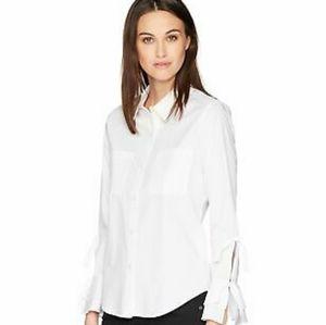 NWT Calvin Klein White Button-Up Tie Sleeve Blouse